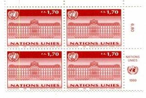 United Nations Geneva Scott #332 Palais Wilson Inscription Block MNH..