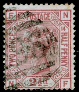 SG141, 2½d rosy mauve PLATE 14, USED. Cat £80. NF