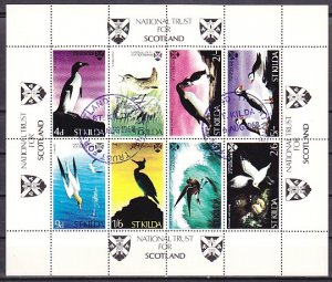 St. Kilda, Scotland 1968 Local. Birds & Penguins sheet. Folded. ^