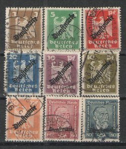 Germany - Weimar Era 1924 Sc# O53-O61 Used VG  Official set 1924