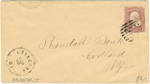 USA - ca.1860s - Sc.65 3c rose on cover used from ABINGTON, CT to CORTLAND,  NY