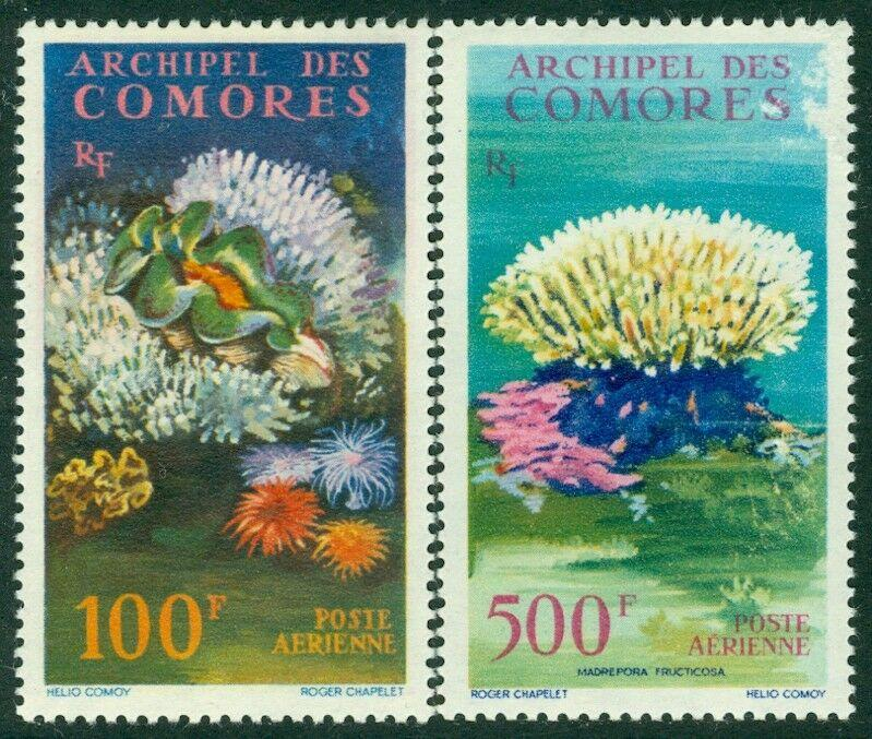EDW1949SELL : COMOROS 1962 Scott #C5-6 Coral & Shells. Very Fine, Mint OG LH.
