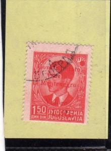 MONTENEGRO 1942 SOPRASTAMPA ROSSA VALORE RED OVERPRINTED LIRE 1,50 D USATO US...