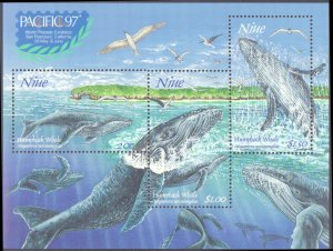 Niue #790a, Complete Set, Souvenir Sheet Only, 1997, Whales, Never Hinged