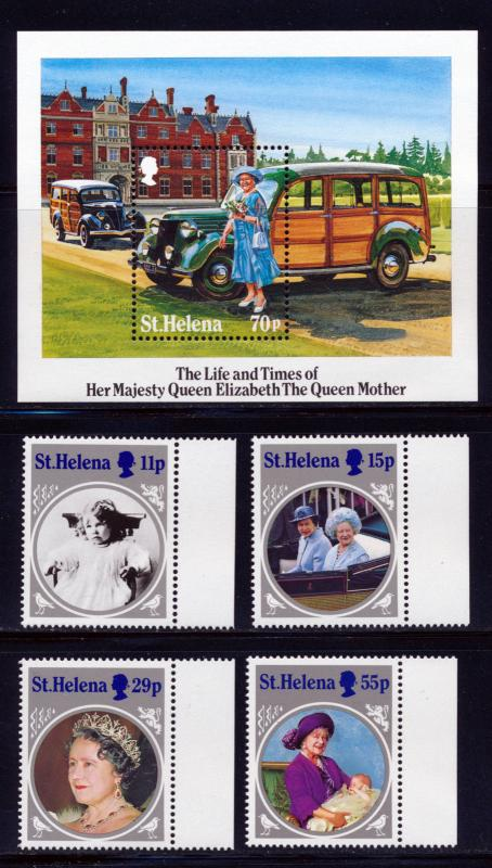 ST HELENA 1985 QUEEN MOTHERS 85th BIRTHDAY SET WITH S/S SCOTT 428-32