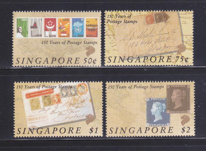 Singapore 563-566 Set MNH Stamps On Stamps (A)