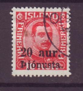 J13610 JLstamps 1923 iceland used #052 christian X ovpt