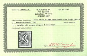 U.S. #65 Used Deep Pinkish rose with Weiss Cert