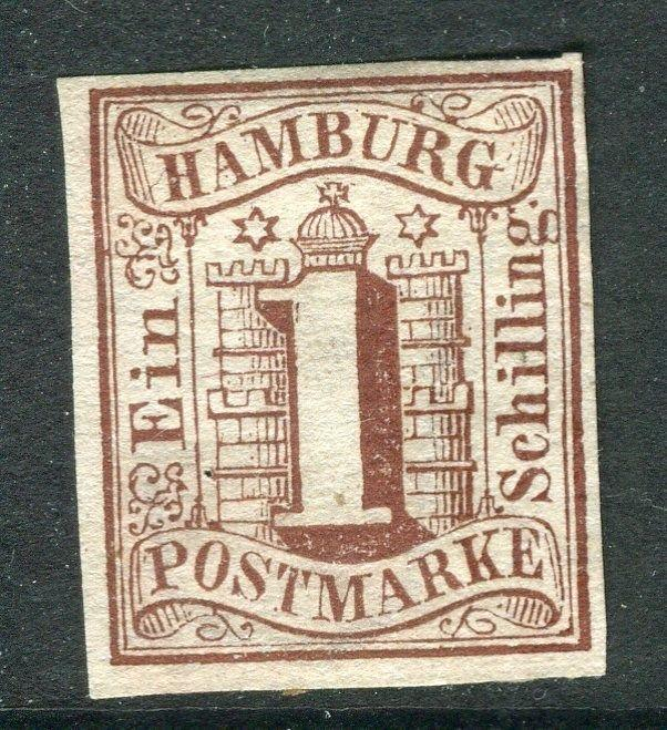 GERMANY  HAMBURG;  1859 early classic Imperf issue 1sch. Unused good margins