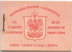Canada USC #BK34c 1942 3c Carmine Panes in Cplt. French Bklt. No Rate Pg.VF-NH.