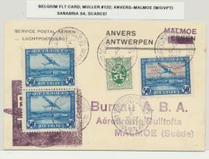BELGIUM 1931 FLIGHT CARD, ANVERS-MALMOE(W/OVPT) MU#122 SAN#S4 SCARCE..(SEE BELOW