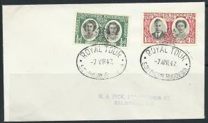 Southern Rhodesia SG 62 + 63 Royal Tour 7 APR 47  Cancel ...