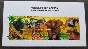 Tanzania Wildlife Africa 2000 Tiger Bird Elephant Zebra Monkey Gorilla (ms) MNH