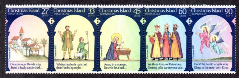 Christmas Island MNH Strip 178a Christmas 1985