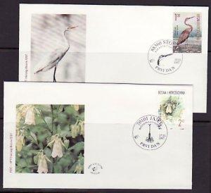 Bosnia, Croat Admin. Scott cat. 35-36. Bird & Flower issue. First day Covers. ^