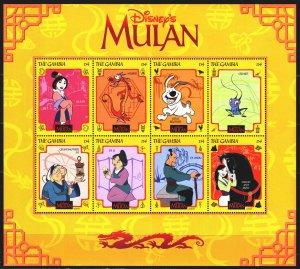Gambia. 1998. Small sheet 3030-37. Cartoon, Disney, Mulan. MNH.