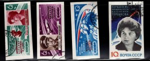 Russia Scott 2750-2753 Used CTO Imperforate Space flight stamps