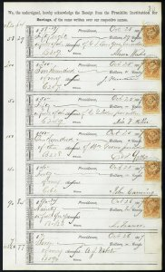 1867 Bank ledger page with R6c revenue stamps handstamp cancels L10