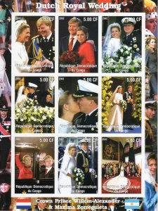 Dutch Royal Wedding Willem and Maxima Sheetlet (9) IMPERFORATED MNH Congo 2002