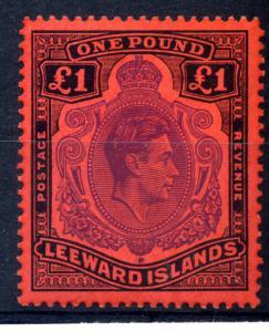 Leeward Is. 1952 £1 Violet & black / scarlet, fine unmounted mint with unlis...