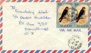 Saint Lucia 10c American Kestrel (2) 1976 Vieux-Fort, St. Lucia Airmail to Mo...