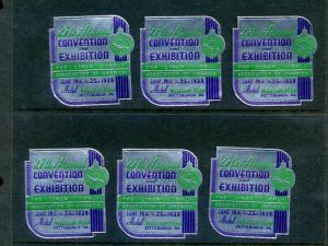 6 VINTAGE 1939 LINEN SUPPLY FAIR & EXPO POSTER STAMPS (L885) PITTSBURGH PA