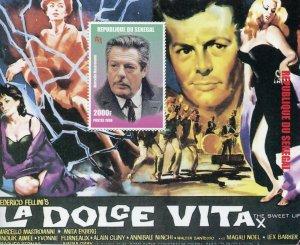 Senegal Cinema Stamps 1998 MNH La Dolce Vita Marcello Mastroianni Film 1v S/S