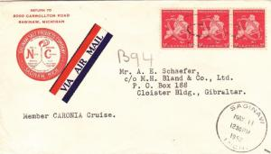 1952, Saginaw, MI to Gibraltar, Airmail (21879)