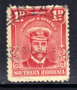 Southern Rhodesia 1924 - 29 KGV 1d Bright Rose used SG 2 ( D987 )