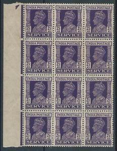INDIA GVI SERVICE 2½a  SGO148 marginal block of 12 MNH.....................45427