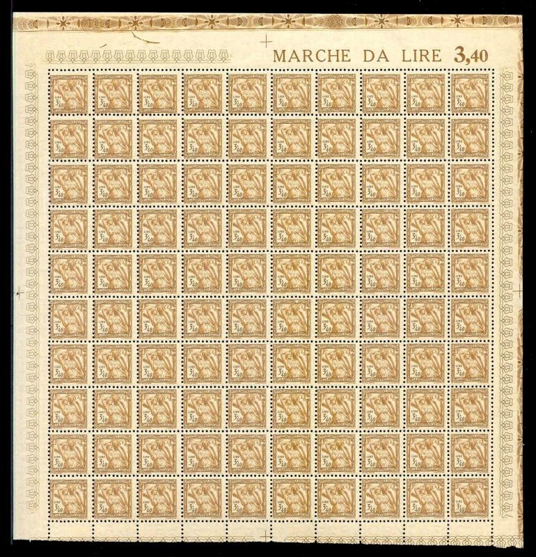 Italy 1941 3.40 L Fascist Social Security Stamp Mint Sheet #19B