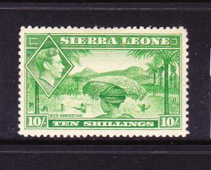 SIERRA LEONE  1938-44  10/- KGVI PICTORIAL   MLH  SG 199