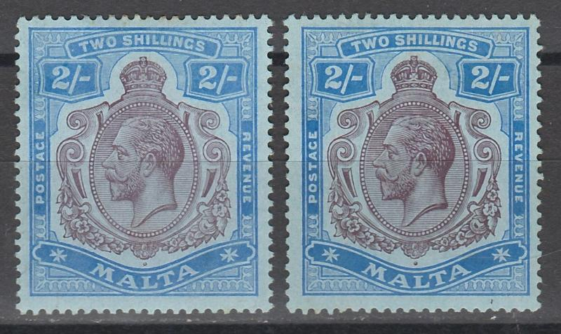 MALTA 1914 KGV 2/- BOTH SHADES WMK MULT CROWN CA