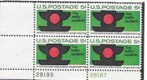 United States #1272  Stop Traffic Accidents.   MNH Plate Block