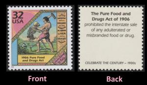 US 3182f Celebrate the Century 1900s Pure Food and Drugs Act 32c single MNH 1998