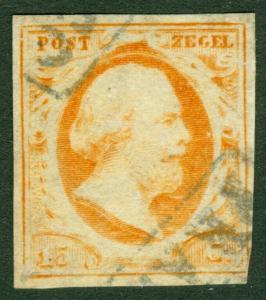 EDW1949SELL : NETHERLANDS 1852 Scott #3 Very Fine, Used. Catalog $125.00.