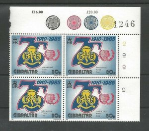 1985 Scouts Gibraltar Girl Guides 75th anniversary plate block