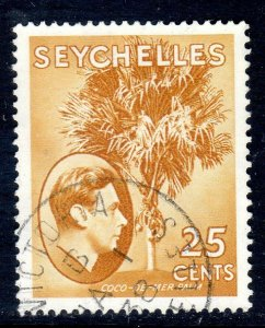 SEYCHELLES-- 1938- sg141  -  25 cents  -brown ochre - used - £14.00