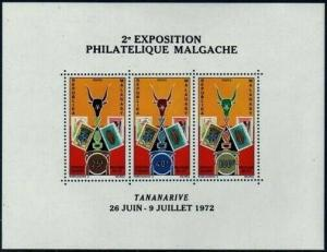 Malagasy 470a sheet,MNH.Michel Bl.6. Stamp EXPO 1972.Stamp on Stamp,Shells.