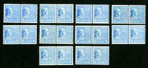 US Stamps # 845 F-VF+VF Line Pair Lot of 10 OG NH Catalog Value $275.00