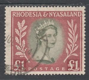 RHODESIA AND NYASALAND 1954 QEII 1 POUND TOP VALUE USED