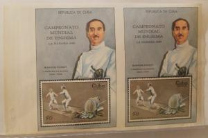 RO) 1969 CUBA-CARIBE, PLATE PROOF IMPERFORATE, WORLD FENCING CHAMPIONSHIP