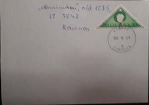 J) 1926 LITHUANIA, CANDLE BARBER WIDE, AIRMAIL, CIRCULATED COVER, FROM LITHUANIA