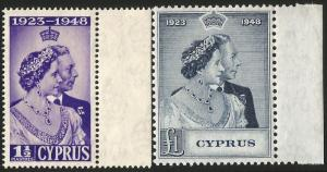 Cyprus 1948 Royal Silver Wedding Set. Fine Unmounted Mint Condition.