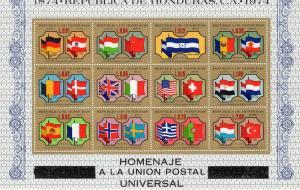 Honduras 1975 Sc#C574  UPU Centennial S/S (12) Flags MNH