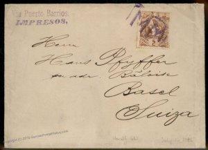 Guatemala 1896 Purple MM Fancy Cancel Basel Switzerland Cover 92815