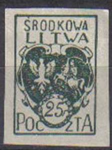 CENTRAL LITHUANIA, 1920, used  25f Imperf