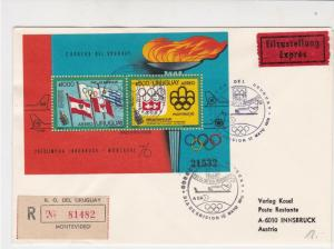 Uruguay 1976 Regd Flight Airmail LH507 Slog Cancel Olympics Stamps Cover Rf29407