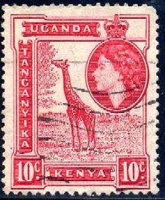 Giraffe, Kenya, Uganda & Tanzania stamp SC#104 used