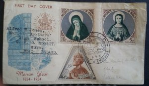 Monaco FDC 1955 Marian Year First Day Cover